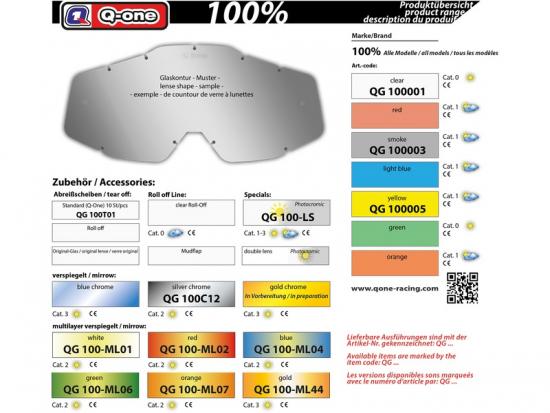 100/%  Prozent Brillenglas Ersatzglas Ersatzvisier Glas getönt Motocross Mx
